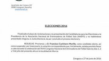 Elecciones ANEFS | Proclamación definitiva candidato