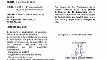 Convocatoria asamblea ANEFS durante el XVIII Congreso